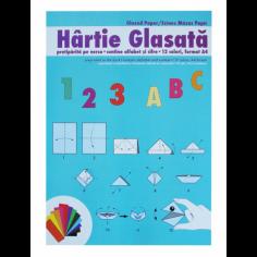 Hartie glasata A4, 12culori/set Pigna
