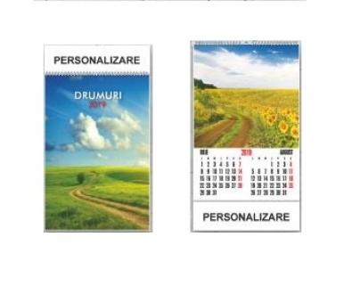 Calendar perete 6 File + Coperta diverse imagini 2019